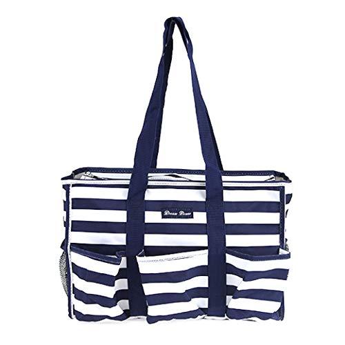 All Purpose Organizer Medium Utility Tote Bag (Stripe Navy Blue)