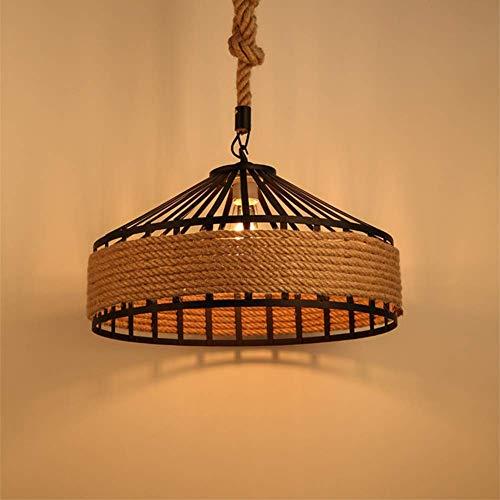 AI LI WEI Juan mooie lampen/kroonluchter Amerikaanse creatief retro theme cafe bar raam henneptouw ronde hanglamp, B30 cm