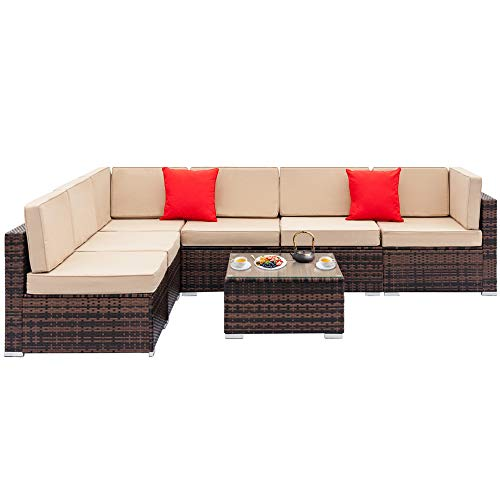 Multi-Seater Sofa - Brown Gradient Weaving Rattan- Upholstered Sofa for Living Rooms Including 4 Large Sofas without Armrests + 2 Corner Sofas + A Coffee Table+2 Cushion