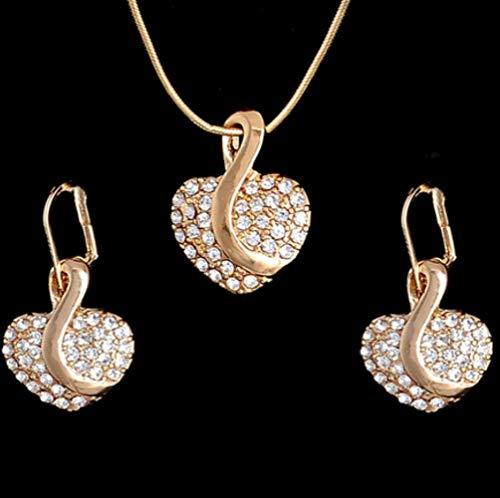 YMKMM Conjunto De Joyas Chapadas En Oro para Mujeres Conjunto De Joyas De Diamantes De Imitación De Boda Nupcial Conjunto De Pendientes De Collar De Ojos De Gato OpalF399