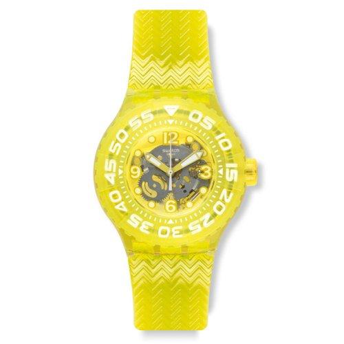 Swatch Men's & Women's 39mm Yellow Plastic Band & Case Plastic Watch SUUJ101