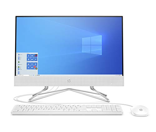 "HP - PC 22-df0045nl All-In-One, AMD Athlon 3050U, RAM 8 GB, SSD 256 GB, Grafica AMD Radeon, Windows 10 Home, Schermo 21.5"" FHD IPS, Casse Audio Integrate, USB, HDMI, Lettore Micro SD, Webcam, Bianco"