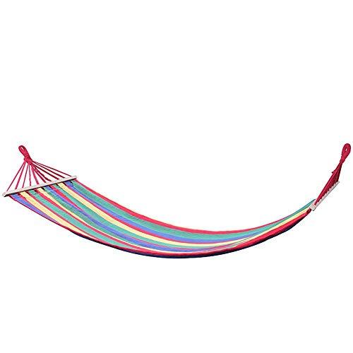 LKOER Viaje al Aire Libre Hamaca Hamaca al Aire Libre Doble portátil Palo Hamaca luz Lienzo Multicolor Hamaca para al Aire Libre Dormir Camping Playa Tienda de campaña Almohadilla Swing jinyang