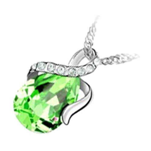 GWG Jewellery Collares Mujer Regalo Collar con Colgante, Bañado en Plata de Ley Cristal Gota de Agua de Color Peridoto Verde con Tira Enrollada Adornada con Piedras Blancas para Mujeres