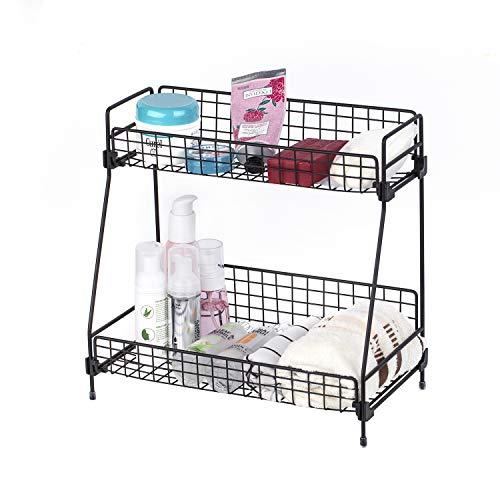 Zengest 2-Tier Bathroom Countertop Organizer, Wire Basket Storage Container Countertop Shelf, Kitchen and Shower Countertop Organizer Rack, Black