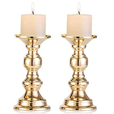 Nuptio Set of 2 Gold Candlestick Metal Pillar Candle Holders, Wedding Centerpieces Candlestick Holders for 2 inches Candles Stand Decoration Ideal for Weddings, Special Events, Parties