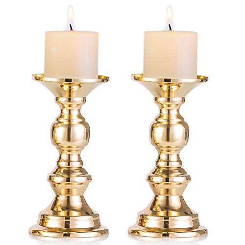 Nuptio Set of 2 Gold Metal Pillar Candle Holders, Wedding Centerpieces Candlestick Holders for 50mm Candles Stand Decoration Ideal for Weddings Special Events Parties, Christmas Candle Holder