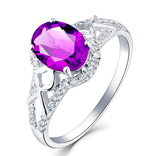Socoz Mujer Unisex oro blanco 18 quilates (750) corazón Purple Amethyst