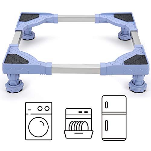 YOOKEA Base de Lavadora con 4 Pies Antideslizantes, de Acero Inoxidable, Soporte para Lavadora, Secadora, Refrigerador, Ajustable de 45 a 58 cm, Carga Máxima 300 kg, Azul