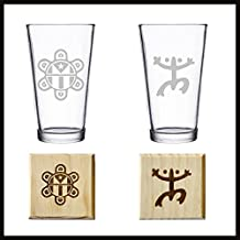 Puerto Rico Taino Indians Symbols: Frog and Puerto Rican Flag. Set of TWO etched Pint Glasses & Two Coasters