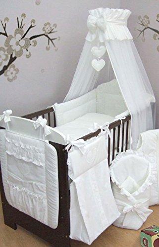 12 pièces Parure de lit bébé brodé, Sac à Langer, lit Rangement pour lit d'enfant, lit (pour lit 120 x 60 cm) – Motif cœurs Blanc