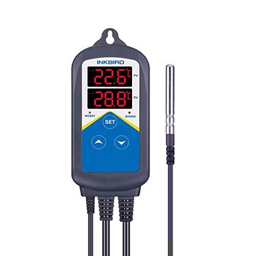 Inkbird ITC-306T Termostato Digital Control de Temperaturas con Sondas para Calefacción (no refrigeración), Temporizador Bucle de 24 Horas Día&Noche para Acuarios, Reptiles Terrarios, Plantas de Invernadero y Incubación