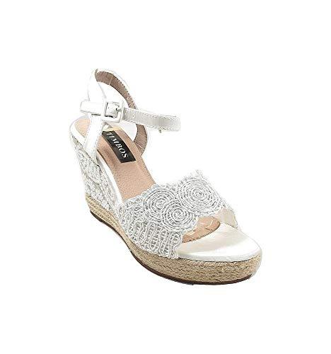 Timbos Zapatos - 121989 Cuña Novia Esparto, para Mujer, Color Blanco, Material...