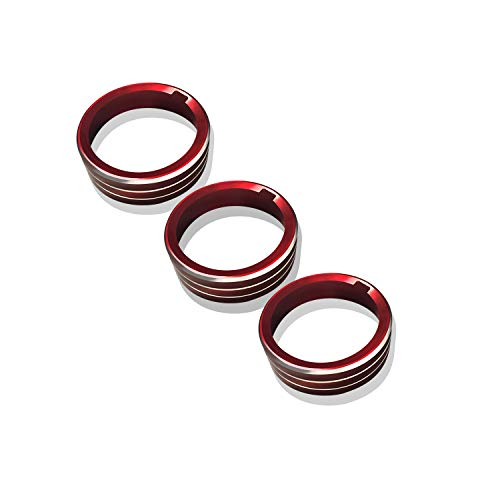 [3 piezas] LFOTPP T-Roc Aleación de aluminio Cubierta de la perilla del aire acondicionado Interruptor de control central Decoración Ajuste Rojo