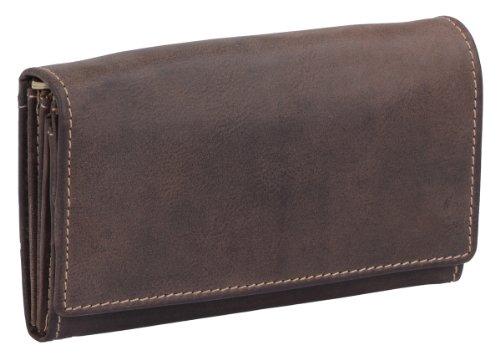 LEAS Damenbörse mit RFID Schutzfolie gegen Datendiebstahl Echt-Leder, dunkelbraun Vintage-Collection