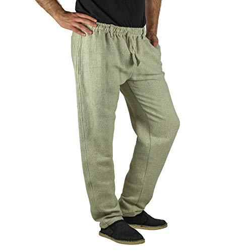KUNST UND MAGIE Herren Relax Freizeit Hose aus Baumwolle, Größe:S/M, Farbe:Naturfarben