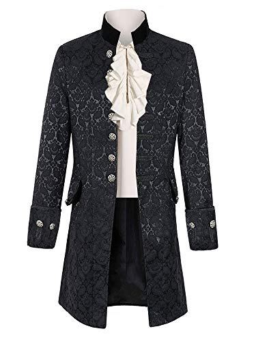Mens Steampunk Medieval Jacket Pirate Viking Renaissance Costume Formal Tailcoat Gothic Victorian Halloween Tuxedo Coats Black
