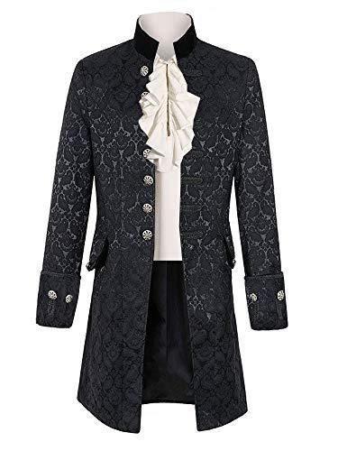 Pxmoda Herren Frack Mantel Steampunk Gothic Jacke Vintage Viktorianischen Cosplay Kostüm Smoking Jacke Uniform Mittelalter Kleidung Weste Jacke Waistcoat Waffenrock, 1 - Schwarz, M