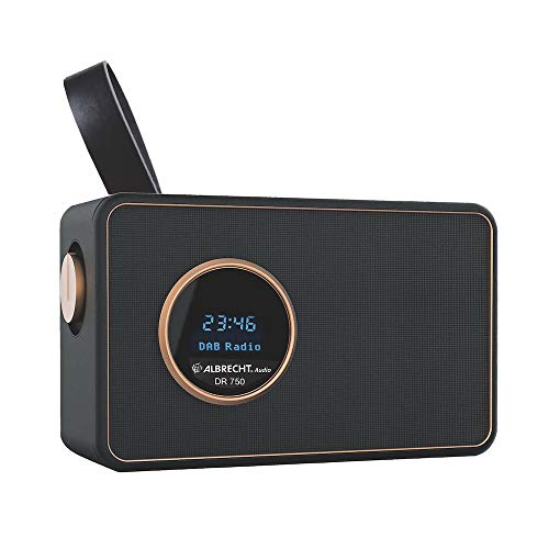 Albrecht DR750 DAB+/UKW Henkelradio, 27750, tragbares Digitalradio mit kristallklarem Klang mit integriertem Akku oder Netzbetrieb, Musikstreaming via Smartphone möglich, Farbe: schwarz