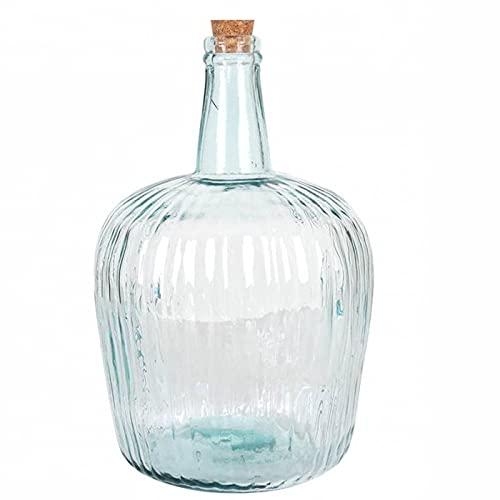 Garrafa de vidrio rayado 8 litros con tapón de corcho 36 x 23 cm, botella de cristal a rayas para almacenar bebidas, agua, vino