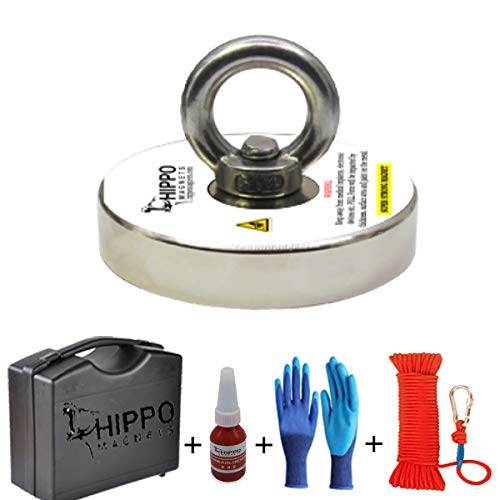 """COMPLETE FISHING MAGNET SET - 1500 LBS Pull Force Round Neodymium Magnet, 5"""" Diameter With Rope & Carabiner, Gloves, Threadlocker, Case By Hippo Magnets"""