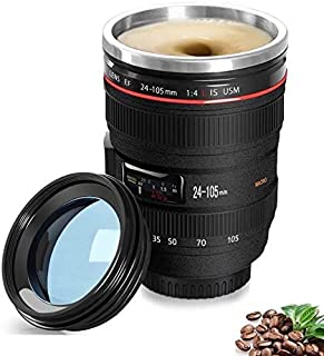 Camera Lens Coffee Mug/Cup With Lid,Photo Coffee Mugs Stainless Steel Travel Lens Mug Thermos Great Gifts for Photographers,Family,Friends - Chasing YEC