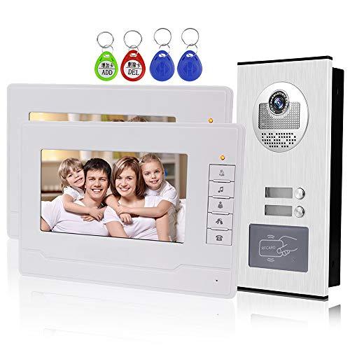 KDL Video Intercom 7 pulgadas Intercomunicador de timbre de video RFID Sistema de videoportero 2 monitores con 1 cámara IR con visión nocturna, dos botones de llamada para Multi Apartamentos/Familias