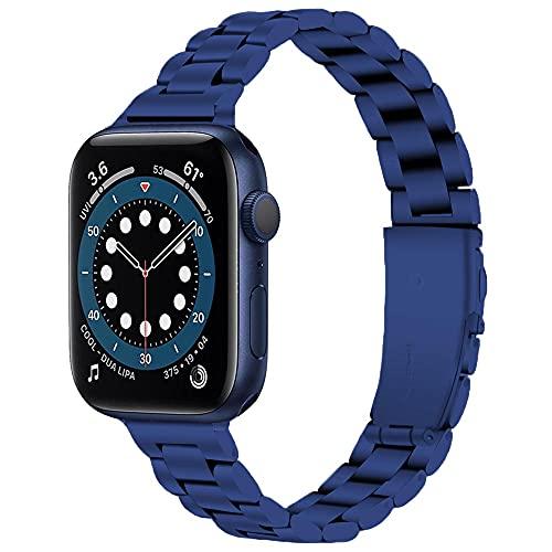 Miimall - Correa de reloj compatible con Apple Watch serie 1, 2, 3, 4, 5, 6, SE, 40 mm, 38 mm, ultrafina, para mujer, acero inoxidable para iWatch serie 1, 2, 3, 4, 5, 6, 38 mm, 40 mm, color azul