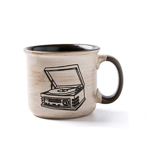 xiaosu Tazza da tè retrò, Tazza da caffè in Ceramica, Tazza da caffè in Smalto Finto nostalgico, 420 ml, grammofono