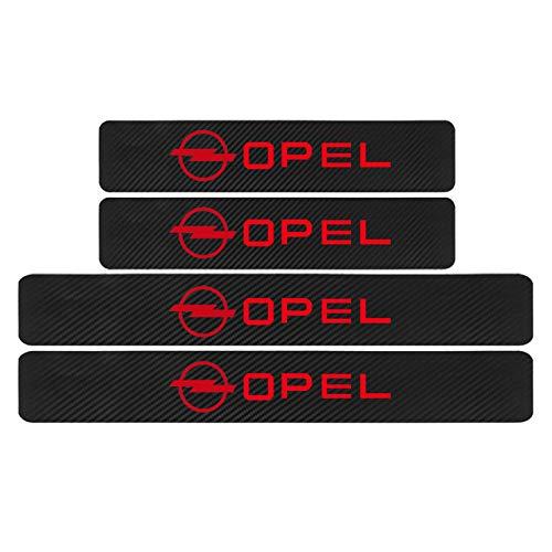 L&U 4pcs Car Styling Fibra de Carbono de Puerta de Coche del Protector del travesaño Pegatina Adhesiva Opel Astra H G J Insignias Mokka Zafira Corsa Vectra C D,Rojo