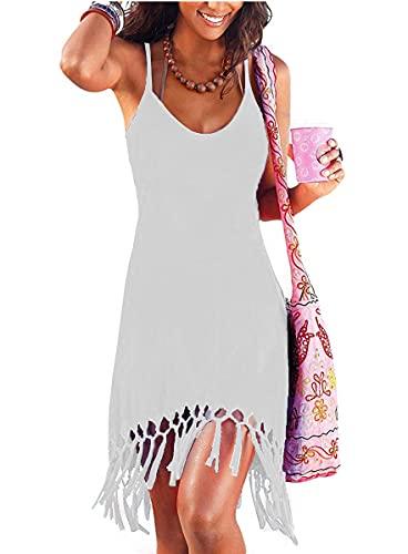 Women's Summer Vacation Beach Dress Swing Cover Up Sundress Spaghetti Strap Casual T-Shirt Short Dress (L, White)