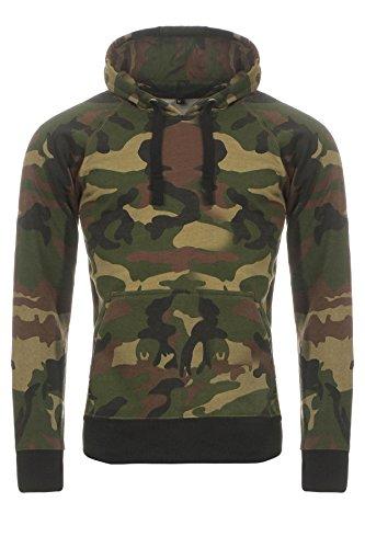Happy Clothing Herren Camouflage Pullover, Kapuzenpullover im Camo-Design, Größe:M, Farbe:Grün