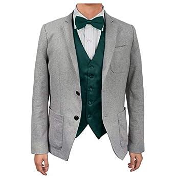 Dan Smith DGEE0005-XL Dark Green Plain Microfiber Handsome Tuxedo Vest Satin Classic For Husband Vest Matching Bow Tie