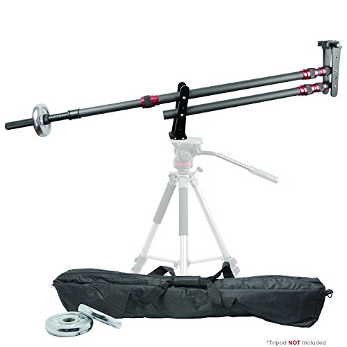 LS Photography Professional Carbon Fiber Camera Crane Jib Stabilizer Arm with Counterweights and Carry Bag for Photo and Video Studio, LGG757
