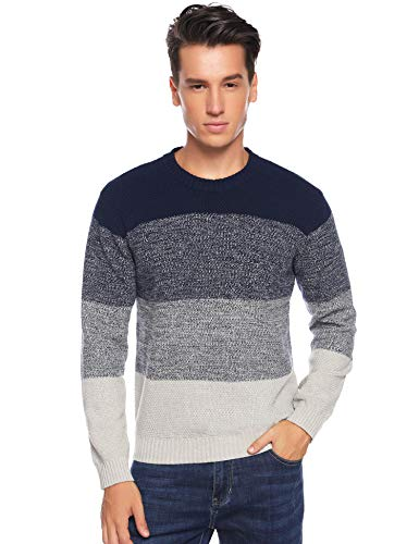 Aibrou Men's Long Sleeve Striped Pullover Sweater Casual Assorted Color Knitwear (Navy Blue,M)