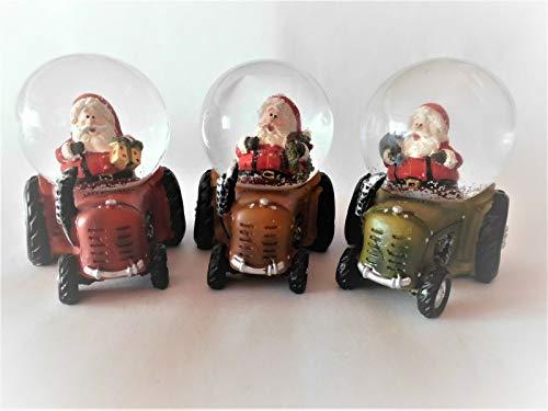 Wurm Schneekugel Weihnachtsmann fährt Traktor (3 Stück) (17588) Weihnachten Schüttelkugel
