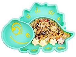 3. Novos Divided Silicone Dinosaur Baby Suction Plate