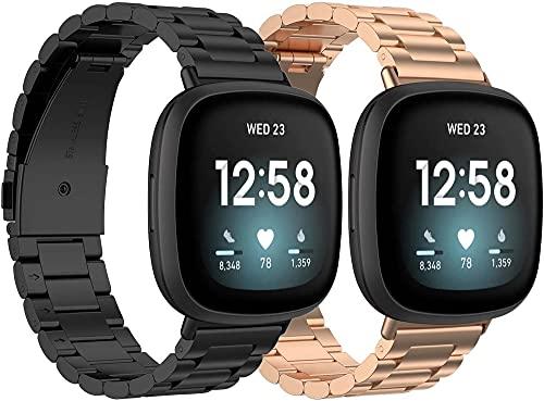 Classicase Correa de Reloj de Acero Inoxidable Compatible con Fitbit Versa 3 / Fitbit Sense, Negocios Metalizados de reemplazo (Pattern 2+Pattern 4)