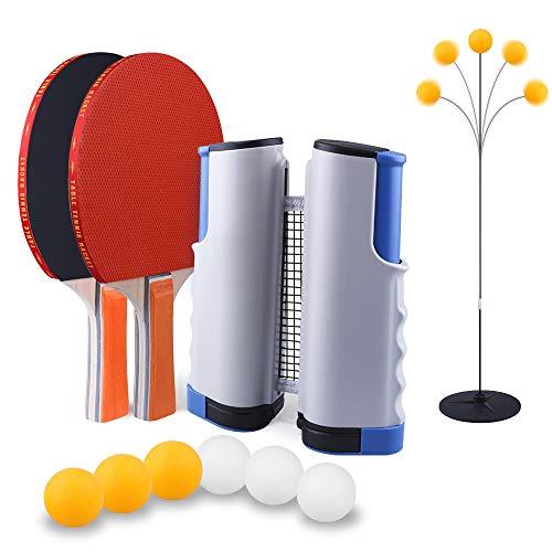 SUPERSUN Set da Ping Pong,1 Regolabile Accessori da Ping Pong Portatile e Estraibile Rete da Tavolo,2 Racchette Ping Pong in Gomma a Doppia Faccia,6 Palline Ping Pong con Borsa per Esterno e Interno