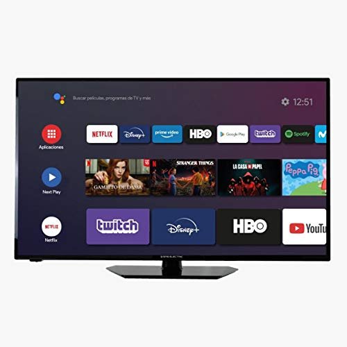"EAS Electric   E43AN80   Televisor Negro   Televisión 43 Pulgadas   Smart TV 43""   LED (ELED)   Full HD 1920x1080 16:9   DVB-T/T2/C/S/S2 HEVC   WiFi   Android TV   Google Cast   USB 2   HDMI 3"