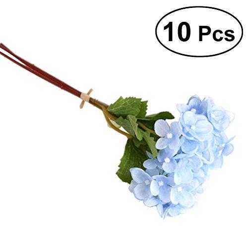 BESTOYARD 10 Stücke Künstliche Hortensie Blumen, schöne Hochzeit Blumenstrauß Hydrangea Kunstblumen für Haus Hotel Dekoration (blau)