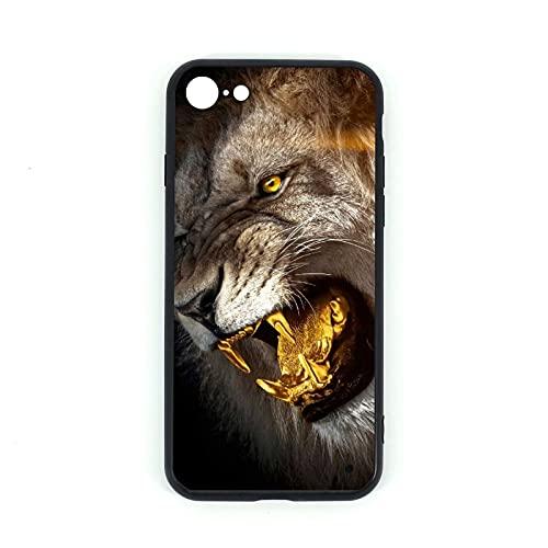 Carcasa para iPhone 7/8 con diseño de León Rey de Oro de Cristal Templado + Silicona TPU Funda para iPhone 7 y iPhone 8