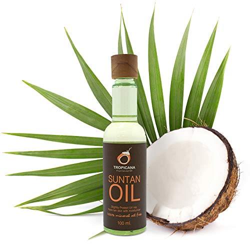Tropicana Oil Natürliches Kokos Bräunungsöl 100ml   Sonnenöl Naturkosmetik Tanning Oil mit Sonnenblumenöl Süßmandelöl Arganöl Aloe Vera Extrakt &Tomatenextrakt   100% ohne Mineralöl&Emulgatoren