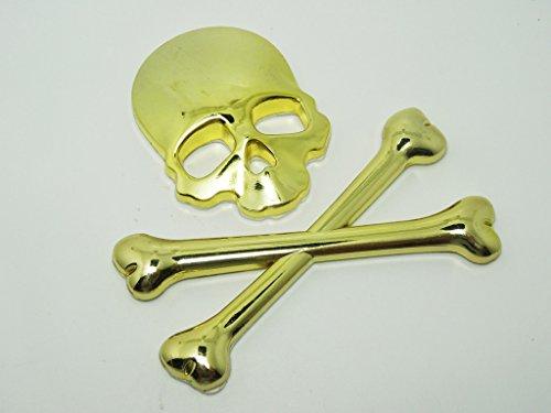 Fengh 3d metal pegatina de coche estéreo de calavera cabeza cross-golden