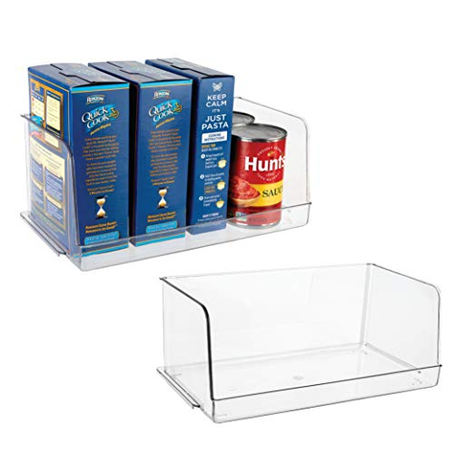 Homeries Stackable Acrylic Storage & Organization Bins Basket - for Kitchen, Pantry, Cabinets, Refrigerator, Pantry, Offices, Closets, Bedrooms, Bathrooms - Space Saving & Open Front (Pack of 2)