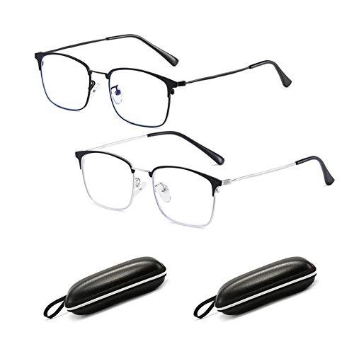 2020 högteknologiska genomträngande glasögon Cat Eye Blue Light Blocking Glasses 2Pack, Metal Half Rim Cat Eye Glasses with Glasses Case, Kan demonteras Byt närsynthet (Svart + Silver)