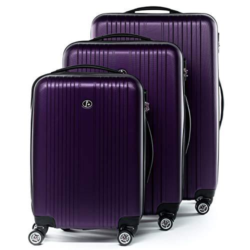 FERGÉ set di 3 valigie viaggio TOLOSA - bagaglio rigido dure leggera 3 pezzi valigetta 4 ruote viola