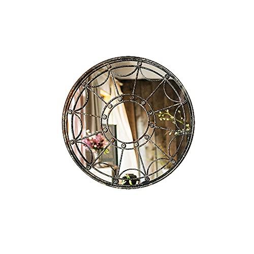 CJSWT Espejo de Pared, casa de Campo de Hierro Forjado, Espejo Decorativo de Pared, artesanía para Sala de Estar, Dormitorio, Cocina, Entrada, Pasillo, decoración de la Pared, Marco de Metal