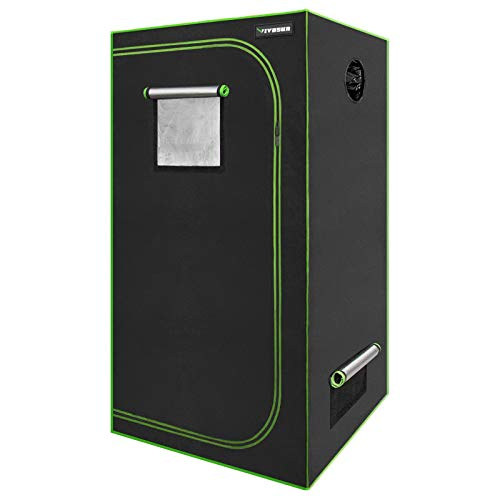 "VIVOSUN 24""x24""x48"" Mylar Hydroponic Grow Tent with Observation Window and Floor Tray for Indoor Plant Growing 2'x2'"