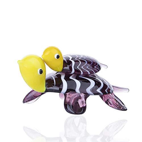 Skulptur Statuen Niedliche Schildkröte, die mit Baby Sammlung Charakter Statue Glas geblasen Kunstwerk Tier Briefbeschwerer Geschenk Home Dekoration Schwimmen